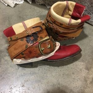 Red Cowboy Boots Size 6 -UPCycled Cowgirl Boots